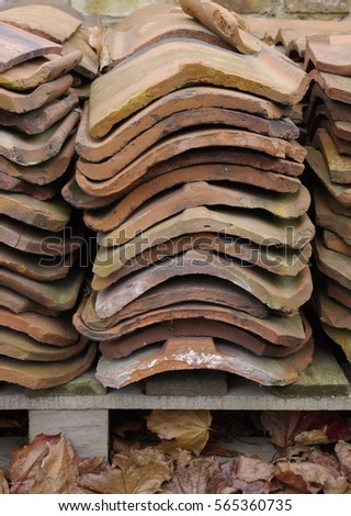 stacked roof tiles on a pallet