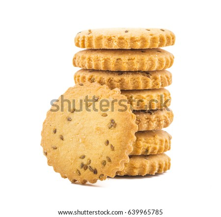 Stacked Salted Cumin Cookies or Jeera Cookies as we call them in India are ideal for tea time. Little Sweet and Little Salty isolated on White Background