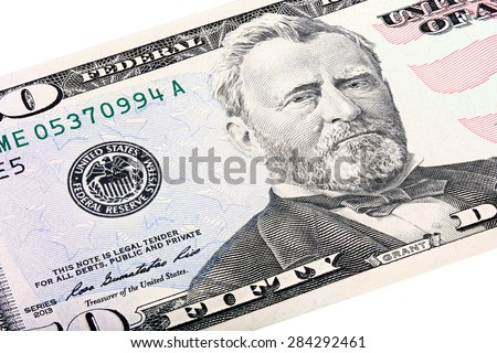 Stacked shot of a U.S. fifty 50 dollar bill, close-up of Grant end Federal Reserve System. - stock photo