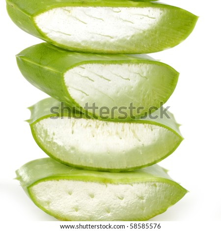 stacked slitting green leaf of aloe - stock photo
