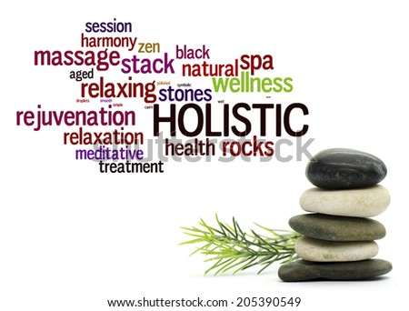 Stacked stone on white background with word cloud arrangement - stock photo