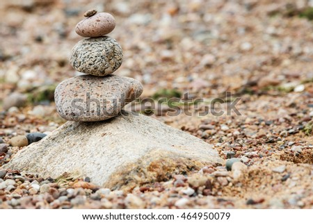 Stacked stones on the seaside