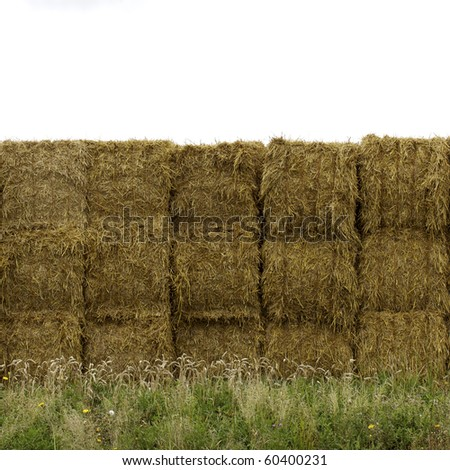 stacked symmetrical hay bales