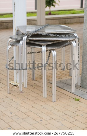 Stacked tables. - stock photo