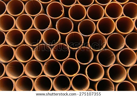 Stacked together of steel tube, close-up