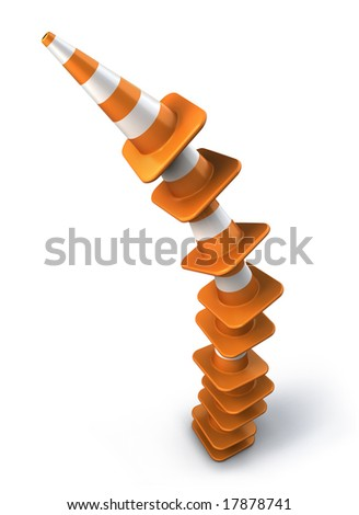 Stacked traffic cones - stock photo