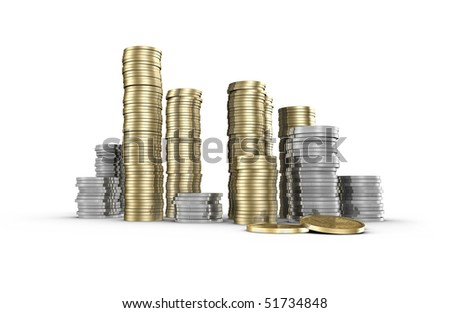 stacked up coins isolated on white - stock photo