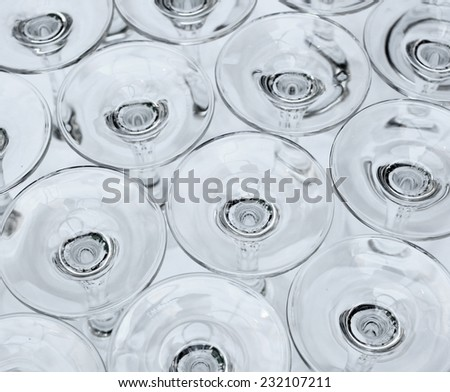 Stacked washed glasses - stock photo