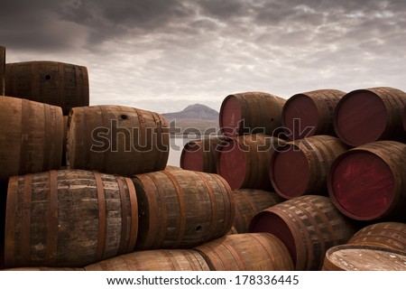 Stacked Whisky Barrels/One too Many/Whisky Barrels Stacked high - stock photo