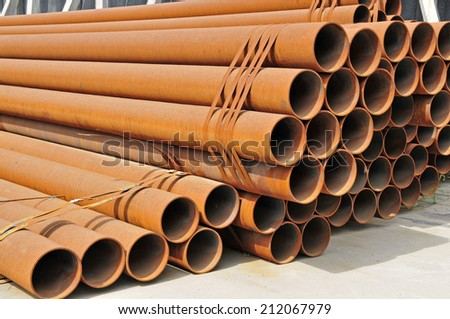 Stacked with rust of steel pipe  - stock photo