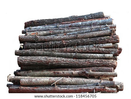 Stacked wood logs isolated on white background - stock photo