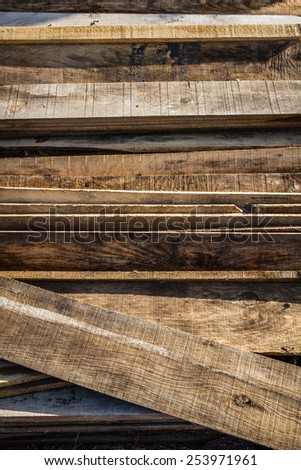 Stacked wood pine timber for furniture production and construction - stock photo