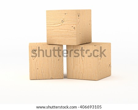 stacked wooden cubes - 3D illustration - stock photo