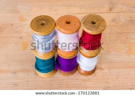 stacked yarn - stock photo