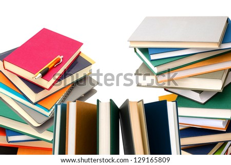 Stacking books on study school