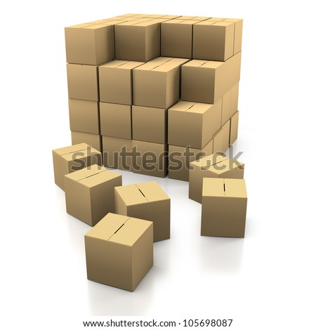 Stacking Cardboard Boxes in a Tidy Stack on a White Background