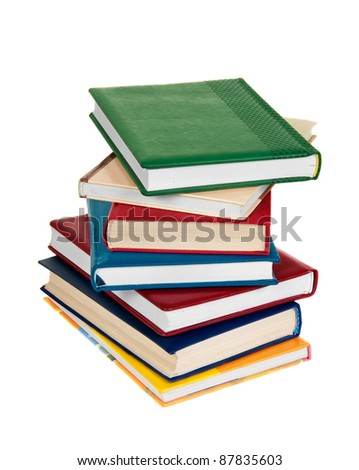 stacking of high level books on white background