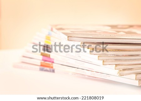 Stacking of magazines , selective focus - stock photo