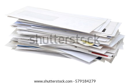 stacking of mails pile on white table