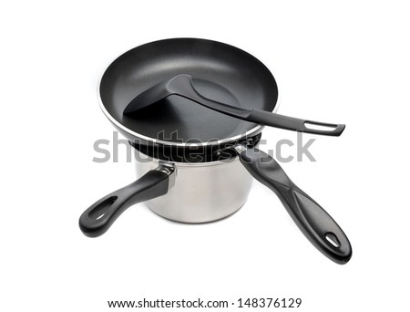 stacking of nonstick frying pan and pot