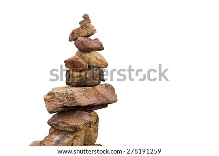 stacking of stone in the isolation on white - stock photo