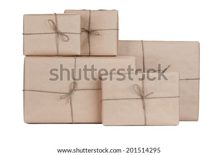 Stacking parcels boxes with kraft paper, isolated on white  - stock photo