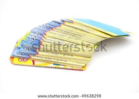 stacking prepaid phone cards - stock photo