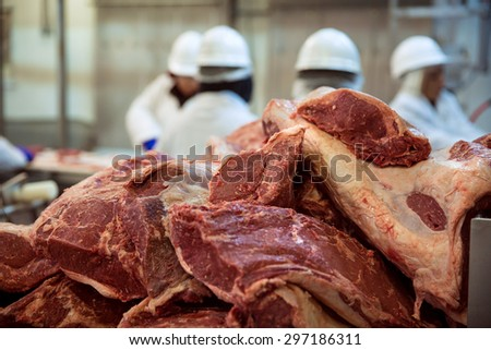 Stacks and piles of a lot of meat abundance raw red sides cuts beef - stock photo