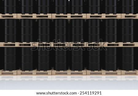 Stacks black barrel of oil on wooden pallet. 3D render background - stock photo