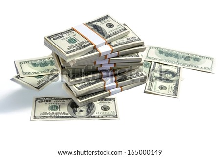 Stacks of american money / studio photography of US banknotes - on white background  - stock photo