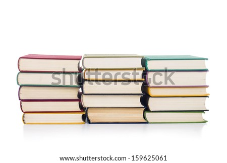 Stacks of books isolated - stock photo