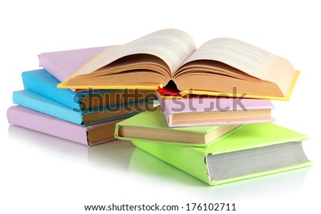 Stacks of books isolated on white - stock photo
