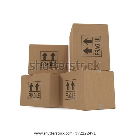 Stacks of cardboard boxes isolated on white. - stock photo
