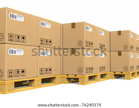 Stacks of cardboard boxes on shipping pallets - stock photo