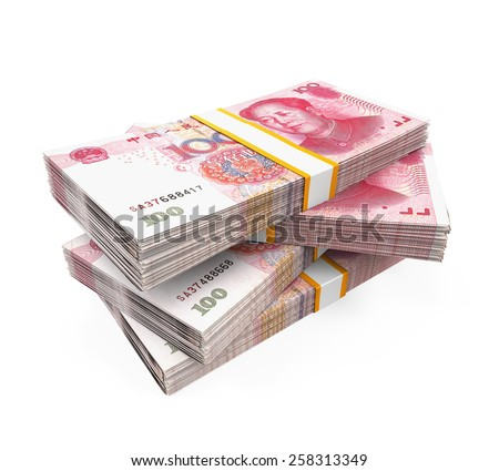 Stacks of Chinese Yuan Banknotes - stock photo