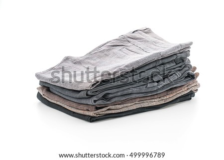 stacks of clothing on white background