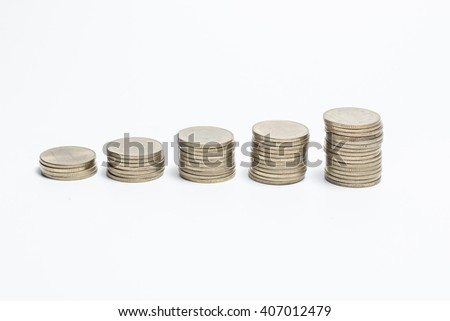 Stacks of coins(baht) on white background - stock photo