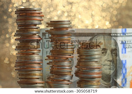 stacks of coins concept dollars euro dollar exchange rate economics
