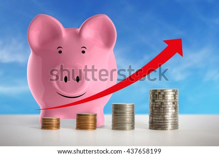 Stacks of coins in a growth financial concept.