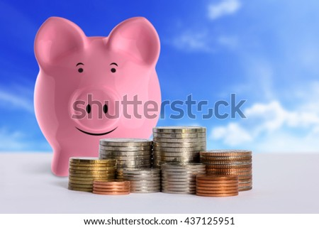 Stacks of coins in a money saving concept. - stock photo