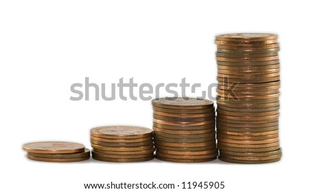 Stacks of coins in growth trend
