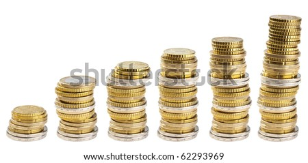 stacks of coins isolated - stock photo