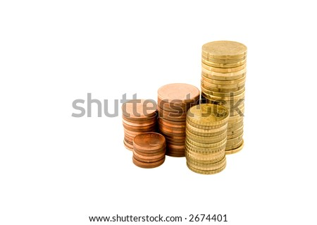 Stacks of coins isolated on a white background