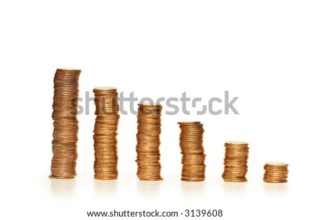Stacks of coins isolated on the white  background