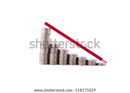 Stacks of coins like diagram descending