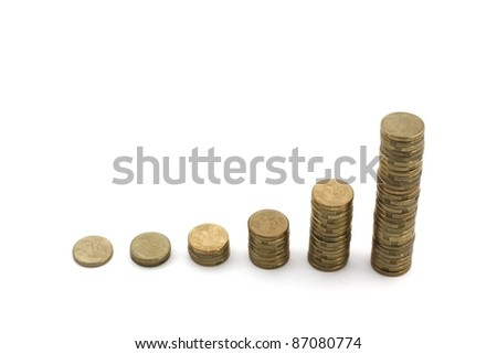 Stacks of coins showing exponential growth, isolated over white.  Conceptual for profit, financial growth - stock photo