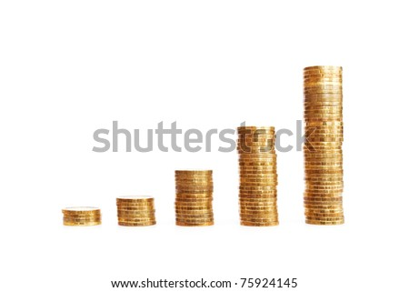 Stacks of coins showing your financial growth - stock photo