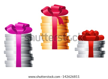 Stacks of coins with colorful ribbons for finance concept or present design. Jpeg version also available in gallery  - stock photo