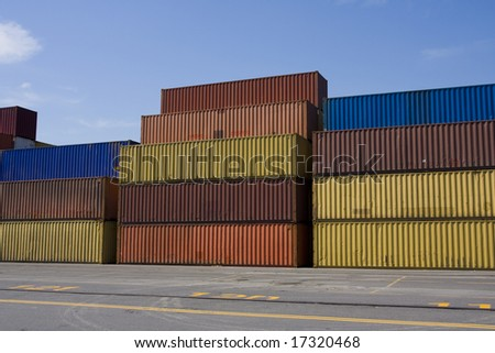 Stacks of colored cargo containers in a major port