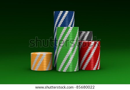 stacks of colored fiches on a green table (3d render)